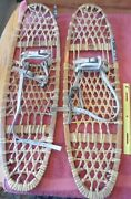 Vintage Pair Of Snowshoes Vermont Tubbs Inc 10x36 Handmade Wooden Leather Sinew