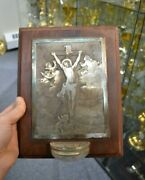 + Beautiful Older Holy Water Font With Etching Of Jesus Amongst Angels + Cu88