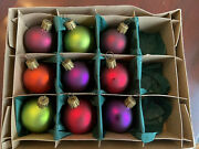 Vtg Smith And Hawken Box Of 9 German Glass Christmas Ornaments Round Balls Small