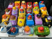 Lot Of 21 Fisher Price Little People Wheelies Fire Trucks Race Cars Helicopter