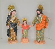 Hand Carved Wood Statues Of The Holy Family + Jesus Mary Joseph Glass Eyes
