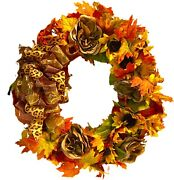 """Fall Wreath Thanksgiving Sunflower Peony Mix Etc. Multi Color Outdoor Xl 24"""""""