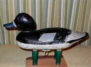 Vintage Michigan Solid-body Working And039 Male Bluebill And039 Duck Decoy W/weight 13.75