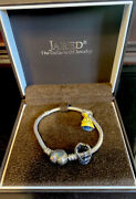 Pandora Childrens Bracelet Beauty And The Beast Bell Charm And Crown Charm Brand New