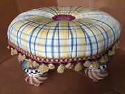 Retired Mackenzie Childs Ottoman Footstool With Porcelain Legs - Fabulous Piece