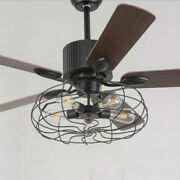 52 Wire Cage Ceiling Fan Unique Steampunk Farmhouse Led Light Industrial 110v