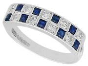 Vintage 0.30ct Sapphire And 0.27ct Diamond 18ct White Gold Dress Ring 1966