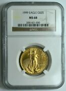 1999 25 Ngc Ms68 Gold 1/2 Oz American Eagle Coin Graded Bullion Better Date