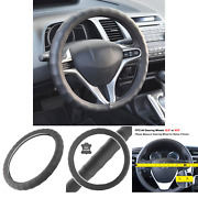 Bdk Genuine Black Leather Steering Wheel Cover For Car, Small 13.5 - 14.5...