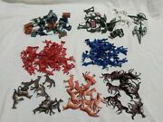 Large Vintage Lot Of Plastic Army, Horse, Steel Workers, Police Men Red Blue