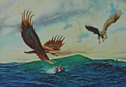 Eagle On The Hunting After One Duck