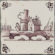 Nice Dutch Delft Manganese Tile Landscape With House And Boatss Circa 1800.