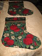 Lot Of 2 Vintage Handmade Christmas Stockings Victorian Roses Large 18 Inches