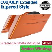 Amber Whiskey Cvo Tapered Stretched Extend Saddlebags Pinstripes For Harley 14+