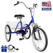 Adult Folding Tricycle Bike 3 Wheeler Bicycle Portable Tricycle 20 Wheels Blue