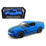 2013 Ford Mustang Boss 302 Blue With Black Stripes 1/18 Diecast Model Car By ...