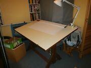 Vintage Hamilton Drafting Table Solid Wood And Iron