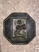 Late 1800's Carved Stone Buddhist Goddes Of Wealth Octagon Amulet Talisman