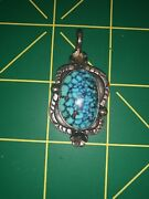 Old Pawn Navajo Lavender Pit Bisbee Turquoise And Sterling Pendant Signed