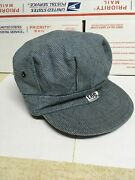 Vintage Lee Striped Engineers Train Conductors Hat Cap Union Made Usa Sanforized