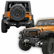 Front+rear Bumper+swing Tire Carrier+2 Hitch+x Plate For 07-18 Jeep Jk Wrangler