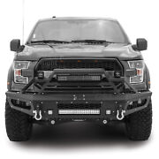 Blk Textured Steel Front Bumper+8x Led+2x 21 Led Light Bar Fit 15-17 Ford F150