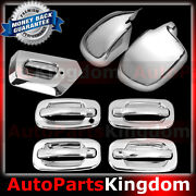 02-06 Chevy Avalanche Chrome Full Mirror+4 Door Handle+w/o Psg Kh+tailgate Cover