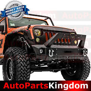 Front Bumper+fog Light Hole+built In Winch Plate+cover Fit 07-17 Jeep Jk Wrangle