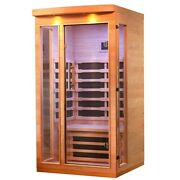 Indoor Sauna Infrared Canadian Hemlock Wood Sauna 1 Person Low Emf Heater Panel