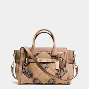 Nwt Coach 37188 Swagger 27 In Exotic Embossed Patchwork Leather Beechwood 595