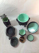 Set Of 4 Pieces James Mont Attributed Metal Ware Ice Bucket Tortoise Ash Tray