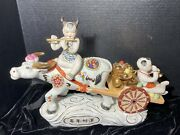 Vintage Asian Hand-painted Bisque Oriental Boys Playing Flute Riding Ox And Cart
