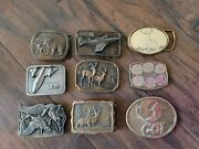 Lot Of 9 Vintage Belt Buckles. Some Brass. Dyna. Buckle Connection.