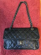 Authentic French Riviera Black Medium Caviar Quilted Flap Bag