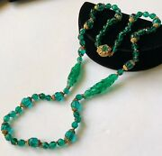 Vintage Miriam Haskell Necklace Green Glass Beads/gilt Filigree Signed