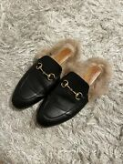 Auth Princetown Fur Loafers 38 Us 7 Slippers Shoes Black