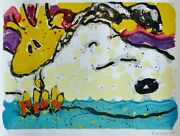 Tom Everhart Bora Boogie Bored Snoopy Peanuts Main Signandeacutee Lithographie