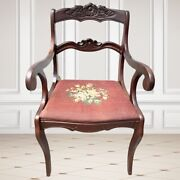 Antique Victorian Carved Needlepoint Mahogany Dining Chair Roseback Duncan Phyfe