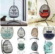 ✨🔥hanging Egg Chair Outdoor Porch Swing Soft Cushion Seat Furniture Steel Steel