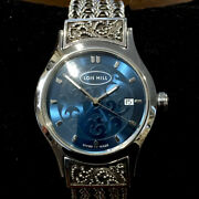 Lois Hill Watch Blue Face Sterling Silver Band