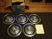 Vintage Set Of 5 Nos 14 Chevelle Nova Fairlane Wire Wheel Covers Nickle Chrome