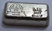 9.48 Troy Oz Rare Old Star Metals .999 Fine Silver Poured Bar 9.48 Ozt