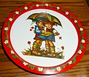 Vtg Hummel Girl And Boy Under The Umbrella Round Tin/metal Serving Tray Giftco 505