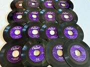 Large Lot Collectible Capitol Label 45 Rpm Records No Covers