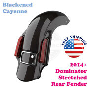 Blackened Cayenne Dominator Stretched Extend Rear Fender Fit 14+ Harley Touring