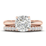 1.2ct D-si1 Diamond Tapered Engagement Ring 18k Rose Gold Any Size