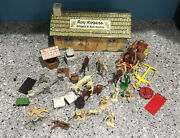 1950's Roy Rogers Marx Toys Playset Double R Bar Ranch House With 35+ Acc.