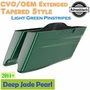 Deep Jade Pearl Cvo Tapered Stretched Saddlebags Pinstripes Fits Harley 2014+