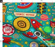 Vintage Stars Retro Game Space Tilt Spaceship Spoonflower Fabric By The Yard