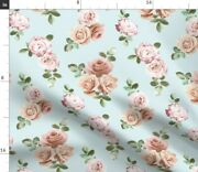 Vintage Rose Floral Duck Egg Blue Small Retro Spoonflower Fabric By The Yard